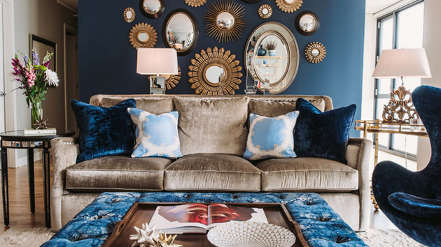 outstanding navy white living room | 11 Effortless Tricks For Picking The Perfect Color Palette ...